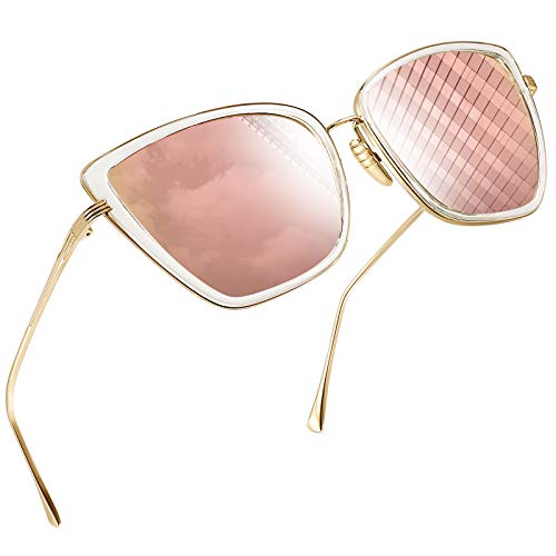 Joopin Oversized Cateye Sunglasses for Women, Fashion Metal Frame Cat Eye Womens Sunglasses (Pink)