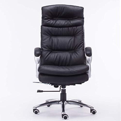 Silla de cuero del ordenador personal Silla de oficina de cuero jefe de estudio sillón de masaje Sala de estar ascensor sillón silla de la computadora Negro silla de Boss (silla de piel de vaca 100% d
