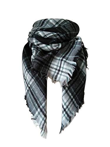 MOTINE Tartan Blanket Scarf Stylish Winter Warm Pashmina Wrap Shawl for Women (Black White)