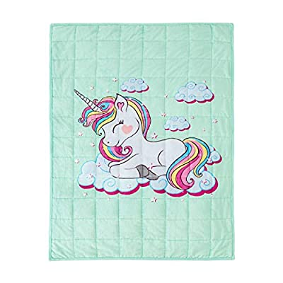 BUZIO Unicorn Kids' Weighted Blanket, Soft & Cozy Flannel Heavy Blanket for Kids and Teens