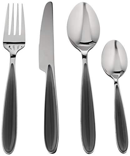 Brandani 54289, Set 16 posate grigio perla acciaio inox, per 4 persone