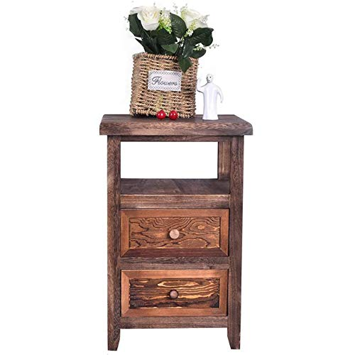 SQPFTW Comodino con 2 Cassetti-Completamente Assemblato, Tavolini, Comò Tavolino Laterale da Divano, Tavolini da caffè, armadietto portaoggetti per soggiorno, camera da letto, ufficio-Marrone Rustico