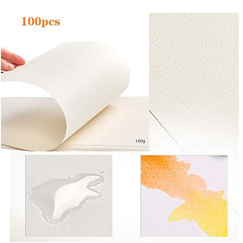 WOWOSS 100 Hojas Papel para Pintura al Óleo y Acrílica, Papel de Algodón Prensado en Frio 160g 8K (37,5 x 26 cm)