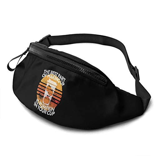 Moaulu Fanny Pack for Men Women,The Best Part of Waking Up is Pumpkin in Your Cup Casual Outdoor Waist Bag for Workout Travel Hiking