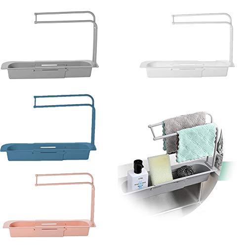 Soporte para fregadero telescópico de 2 uds, estante telescópico de cocina multifuncional, estante para fregadero de cocina, soporte para cesta de almacenamiento expandible (Rosa + azul)