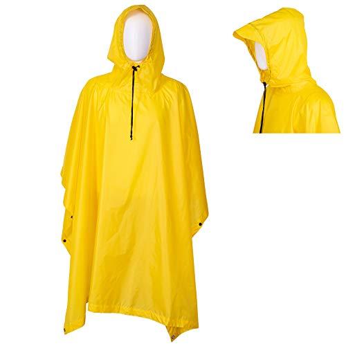 Regenponcho Wasserdicht Regencape mit Kapuze Multifunktionales Regenmantel Wiederverwendbar Regenkleidung Faltbare Ripstop Damen Herren für Wandern Camping Angeln Täglichen Gebrauch Gelb