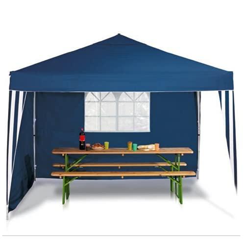 Carpa plegable impermeable profesional de 3 x 3 m, aluminio, con 2 paredes laterales con ventana y cierre autoadherente, protección UV 98%, tela Oxford 230 g/m2, color azul