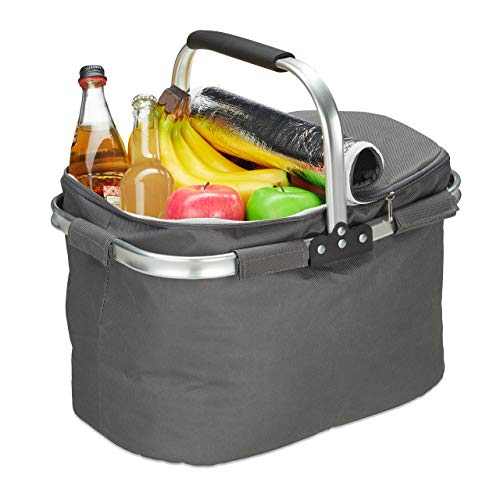 Relaxdays Einkaufskorb mit Kühlfunktion, faltbar, Deckel, Henkel, 27 Liter, Thermo Tragekorb, Polyester, Aluminium, grau