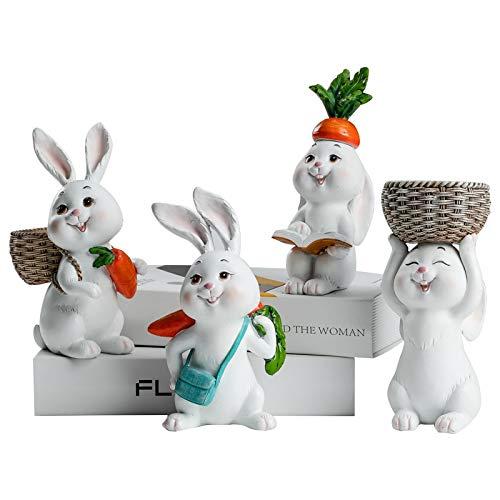 HONGGE Decoraciones de Resina de Pascua para el hogar Conejo Lindo Figuras Animales Miniatura Tabletop Ornaments Statue Fairy Garden Acción de Gracias (Color : A Set of Four)