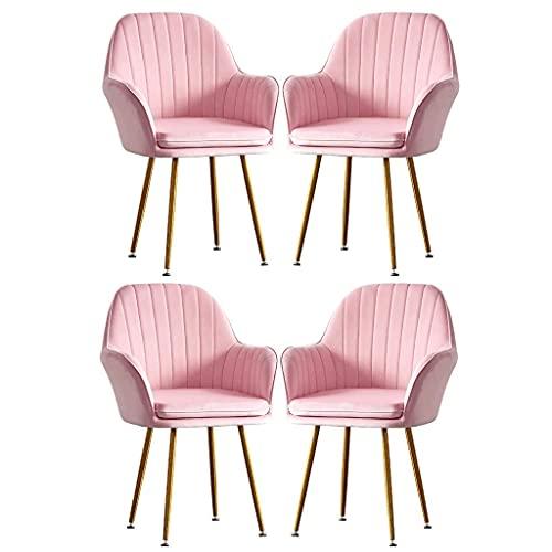 WYBW Silla de comedor para el hogar, silla de comedor de franela, sofá individual, silla para niña, maquillaje, tocador, salón, ocio, taburete de uñas, sillones de moda creativa, juego de 4,Rosa