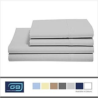 Sheet Set Full-XL Size 100 % Cotton Sheets 4 Piece Sheet Set 500 Thread Count Cotton Sheets BedSheet and Pillowcase Long Staple Cotton Sheet Breathable Cotton Sheets Light Grey Solid Sheet Set