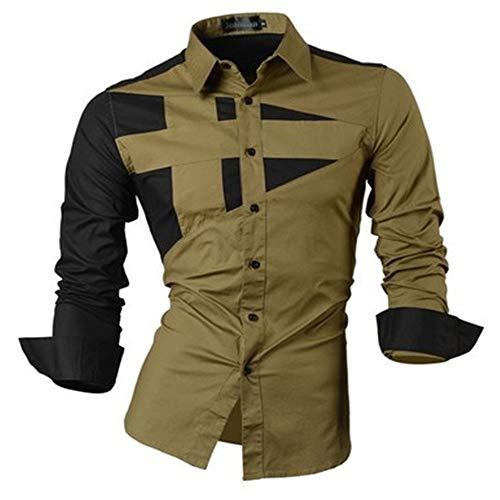 SFYZY Herren Trendroboter Slim Fashion Persönlichkeit Shirt Langarm Trend Dreifarben-Nähhemd Hit Farbe Langarm geometrische Nähte Mantel