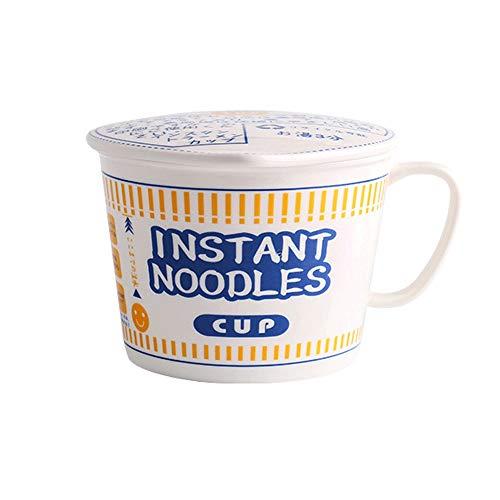 L-H Japanische Keramik Schale, kreative Suppe mit Deckel / Nudeln / Milk Tea / Korn leicht zu reinigen Schüssel, Mikrowelle Hotel Haushalt Geschirr Küchenzubehör ( Color : Blue , Size : 14.5x10.5 )