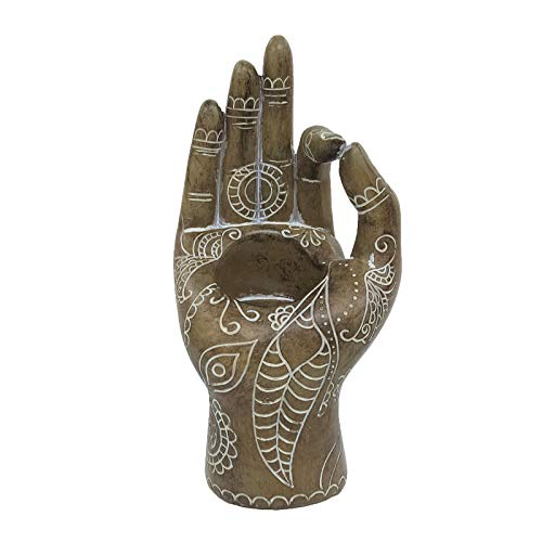 FLJZCZM Buddha Yoga Candle Holder Mudra Hand Tabletop Tealight Decor Statues Collectible Figurines (Wooden)