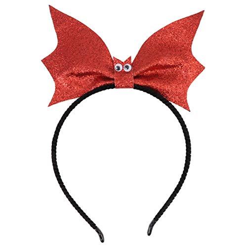 Lurrose Diadema de Halloween con lentejuelas, diseño de murciélago, creativo, para cosplay, duradero, bonito accesorio de fiesta, para mujeres y niñas, color rojo