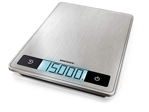 Soehnle Page Profi 200, digitale keukenweegschaal, zilver, gewicht tot 15 kg (1-g-nauwkeurig), huishoudweegschaal met gepatenteerde sensor-touch-functie, elektronische weegschaal incl. batterijen