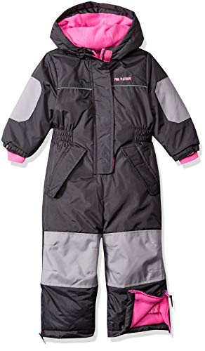 Pink Platinum Girls' Toddler Snowmobile Snowsuit, Charcoal, 4T