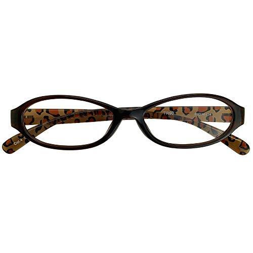 遠近両用メガネ TRレオパード (レディースセット) 全額返金保証 境目のない 遠近両用 老眼鏡 (瞳孔間距離:69mm〜70mm, 近くを見る度数:+3.0)