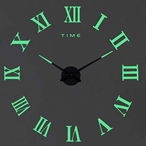 SHS2018 Reloj de pared moderno y silencioso XXL con espejo acrílico en 3D para casa, hotel, oficina, decoración, regalo (Luminous-2)