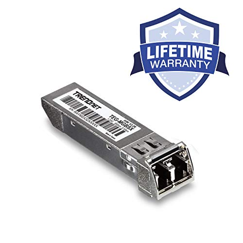 TRENDnet Gigabit SFP LC Module, TEG-MGBSX, Multi-Mode, Mini-GBIC, Up to 550 M (1800 ft), Compatible w/Standard SFP Slots, Hot Pluggable, Compliant w/IEEE 802.3z Gigabit Ethernet, Lifetime Protection