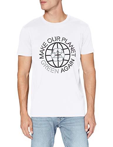 ESPRIT Herren Safe The Planet T-Shirt, 100/WHITE, S