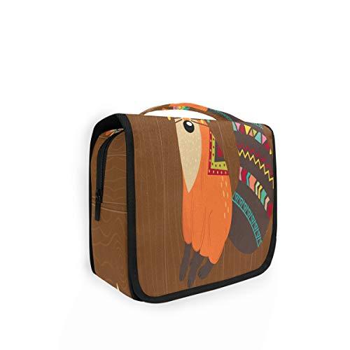 Trousse de toilette à suspendre motif renard tribal sur fond en bois avec 4 compartiments pour femme
