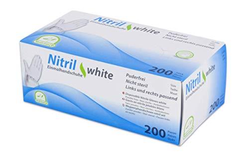 Einmalhandschuhe Puderfrei Nitril Einweghandschuhe Medi-Inn Big Box Fabauswahl(weiß,L (8-9),200 Stück)