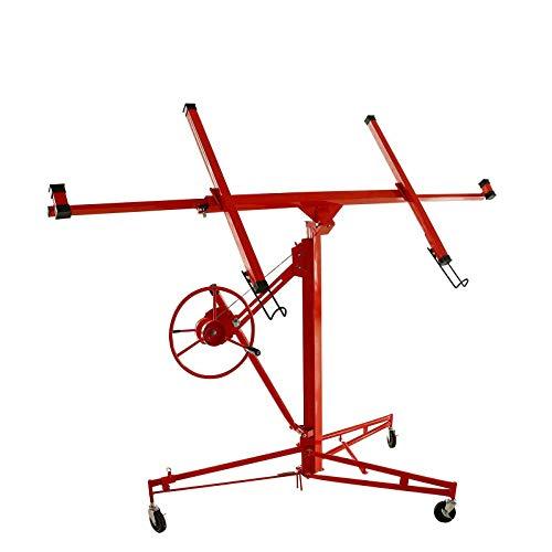 11FT Drywall Panel Hoist Professional Jack Lifter Heavy Duty Sheetrock Hoist Holder Rolling Wheels Lifter Construction Tool Capacity 150 LB (Red)