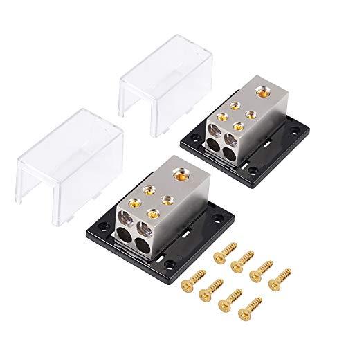 eSynic 2 Stück Stromverteilerblock 1 Eingang 1/0 oder 4 Gauge mit 4 Ausgängen 4/8 Gauge für Auto Amplifier Power mit Schrauben Paar Erdungsverteilungsnetzteil 4-polig für Auto Audio System