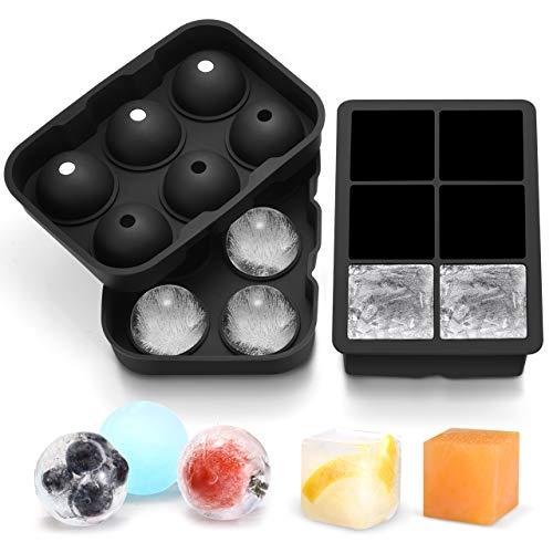 TOPELEK Eiswürfelform Silikon, 6-Fach 2 Stück Eiswürfelschalen, 45mm groß Eiswürfel und Eiskugel, Eiswürfelbehälter mit Deckel, BPA Frei Ice Cube Tray perfekt für Gekühltes Bier, Cocktails, Whisky