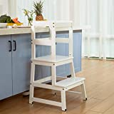 Mangohood Kitchen Helper for Kids and Toddlers with Safety Rail Children Standing Tower for Kitchen Counter, Mothers' Helper Kids Learning Stool, Solid Wood Construction