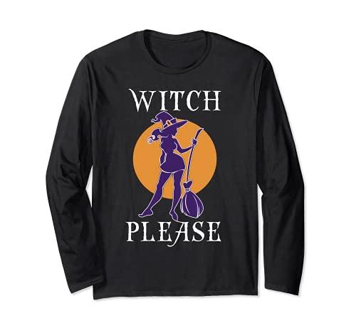 Bruja por favor camisa para mujer, divertido disfraz de bruja sexy de Halloween Manga Larga