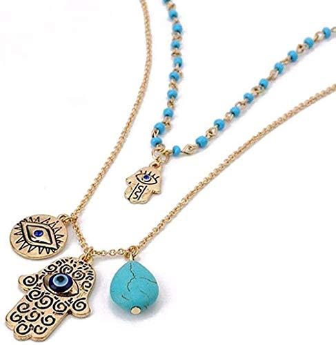 Yiffshunl Collar de Moda para Mujer, dijes de joyería Fina, Collar de Mano Malvada Azul, Collares y Colgantes con Cuentas de Piedra Verde, Collar de Regalo