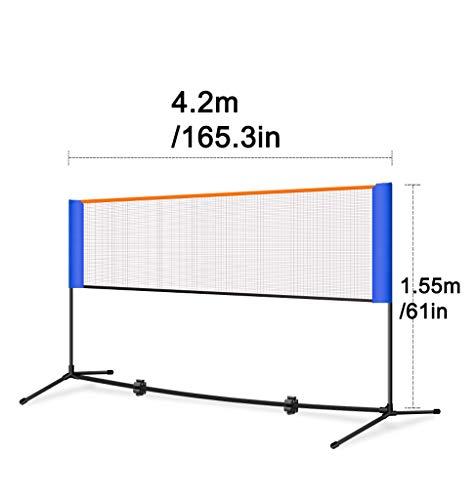 LLJPFD7J Premium-Multifunktionsnetz, Badminton, Tennis, Fußballtennis und vieles mehr, 420 cm breit, höhenverstellbar Tragbarer Garten Badminton-Netz (Color : 4.2m/165.3in)