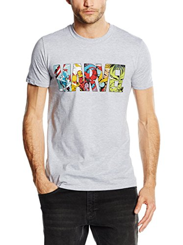 Marvel Comic Strip Logo T-Shirt Camiseta, Gris (Sport Grey), X-Large para Hombre