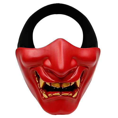 Outdoor Base Samurai Mask, Japanese Demon Kabuki Hannya Evil Oni Half Lower Face Protective Masks for Tactical Airsoft Paintball Halloween Cosplay Red