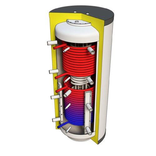 Hygienespeicher 1000 Liter mit PU Hartschaumisolierung und zwei Solarwärmetauscher