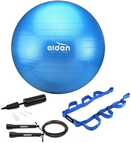 OLIVIA & AIDEN Exercise Ball Set - 65cm Anti-Burst Balance Ball for Yoga, Pilates, Birthing, Stability Training and Physical Therapy | Includes Stretch Band, Jump Rope and Air Pump