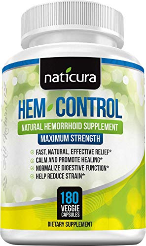 Naticura: Hem-Control Natural Hemorrhoid Supplement - Vegan Herbal Supplement with Psyllium Husks, Witch Hazel, and Ginger Root - 180 Count - Inflammation-Fighting Digestive Support