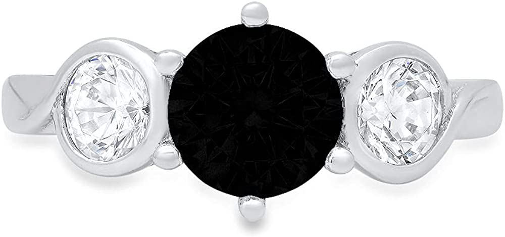 1.85 ct Brilliant Round Cut 3 stone Solitaire Flawless Natural Black Onyx Gemstone Ideal VVS1 Engagement Promise Statement Anniversary Bridal Wedding with accent Designer Ring 14k White Gold