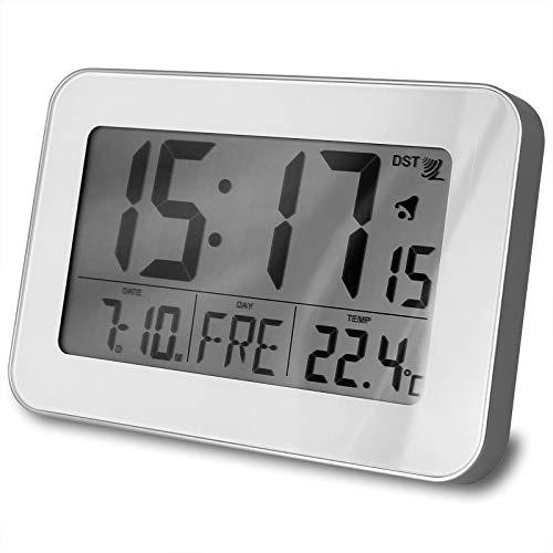 TW24 Funkwanduhr klein mit Farbwahl LCD Display Funk Wecker Digital Uhr Funkuhr Wanduhr Digitaluhr (Weiß)