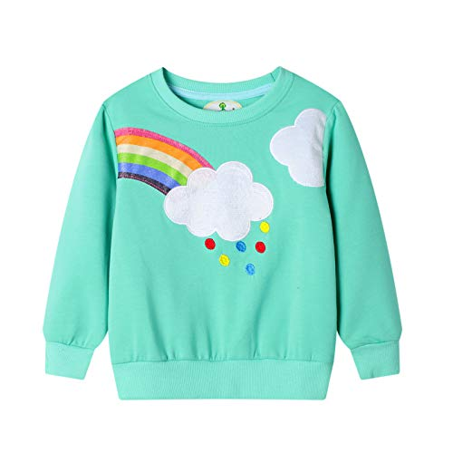 Surwin Sudadera Cuello Redondo para niños Unisex Jersey Manga Larga Algodón Suave Casual Camiseta Superior Ropa Invierno Chándal (Arcoiris Verde,4T/110cm)