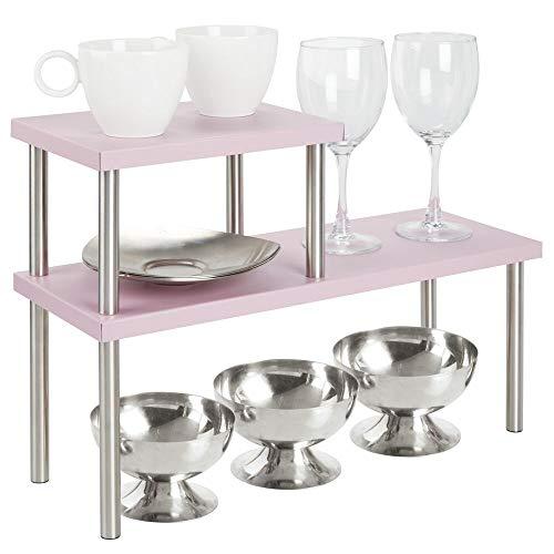 mDesign Küchenregal mit 2 Ablagen – schmales Tellerregal für Arbeitsplatten und in Schränken – zweistöckige Geschirrablage aus Metall und Edelstahl für die Küche – rosa und mattsilberfarben