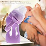 Biberón de 180 ml, recién nacidos Biberón natural de flujo normal Ángulo de la punta Resistencia a las caídas Bebés 0-3 meses(Pink Purple)