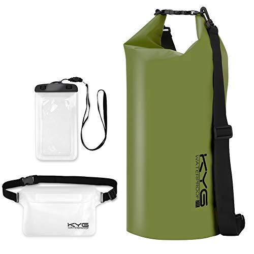 KYG Bolsa Estanca Impermeable 20L Set de Mochila Estanca con Funda de Móvil y Bolsa de Cintura, Bolsa Seca para Playa y Deportes al Aire Kayak Senderismo Esquí Pesca Escalada Camping, Verde