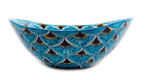 Azura Mexicaanse wastafel | Kleurrijk ovaal opzetwastafel uit Mexico | Kleurrijke decoratieve motieven ideale badkamer en gastentoilet met tegels in houtlook, cementtegels en rustieke kast