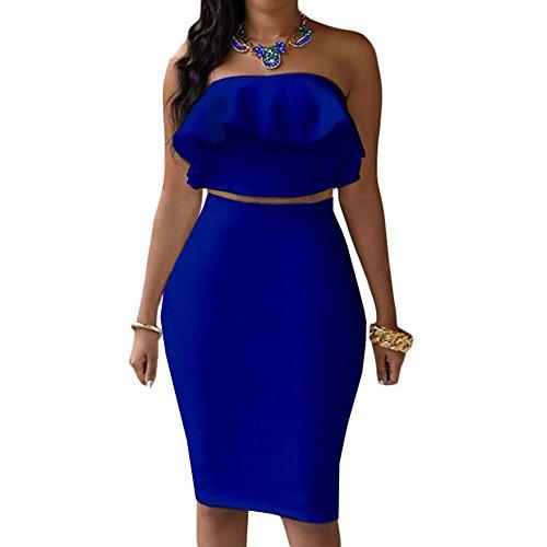 Eiffel Women's Off Shoulder Ruffle Crop Top Pencil Skirt Dress Two-Piece Set XL Blue