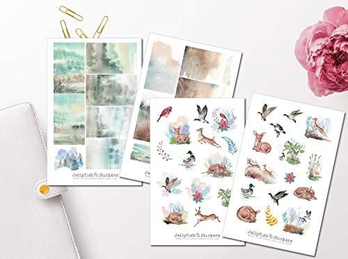 Wald Tiere Sticker Set | Journal Sticker | Sticker Natur, Wald, Vögel, Rehe, Frühling, Wiese, Landschaft, Garten, Wildnis, Ente