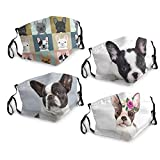 4 Pack Washable and Breathable Cute French Bulldog Dustproof Masks with Filter Pockect and Nose Wire, Adjustable Dustproof Masks for Men and Women with Elastic Ear Loops