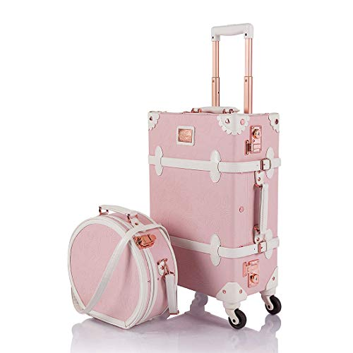 COTRUNKAGE Vintage Trunk 2 Piece Luggage Set TSA Lock Carry On Suitcase for Women with wheels, Pink Embossed